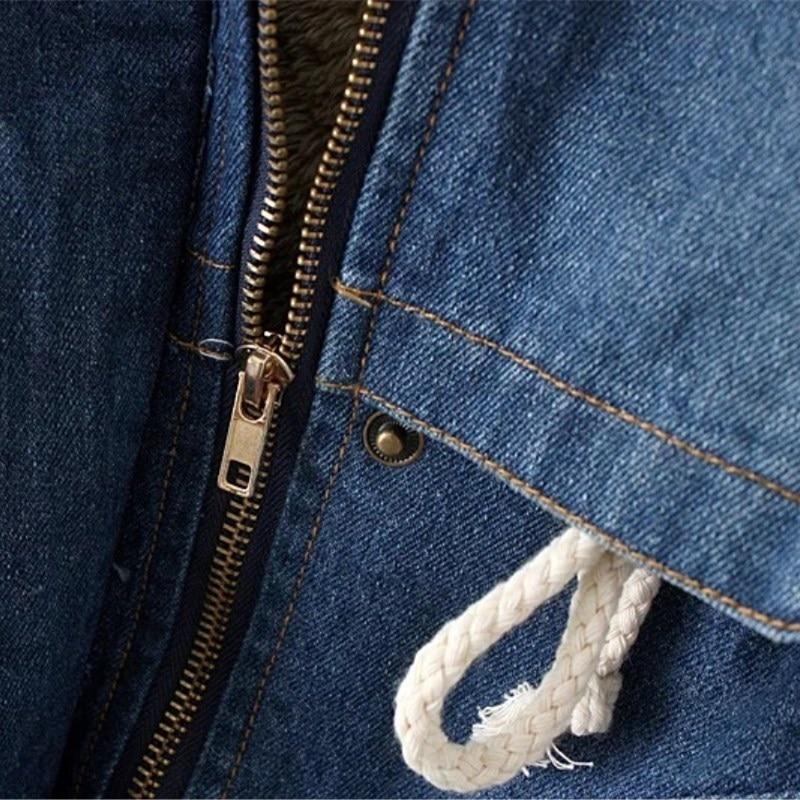 D'extérieur long Décontracté À Longues Capuche Mode Épaissir Bleu Vêtements Veste Denim En Femmes Moyen D'agneau Hiver Jeans Manteau Manches Laine aqSYwa7