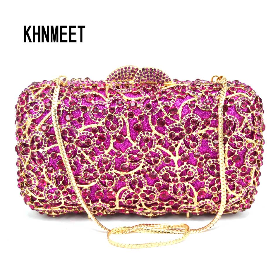 Luxury Fashion Crystal Fuschia Evening Bag Women Wedding Party Purse Bridal Clutch Bag Female Prom Bag SC575 lime crime подарочный набор миниатюр velvetines fuschia цвет fuschia variant hex name f354dc