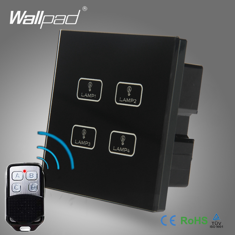 Hot Sale 4 Gang Remote Wallpad Black Crystal Glass Switch LED Ligh Remote 4 Gang 2 Way W ...