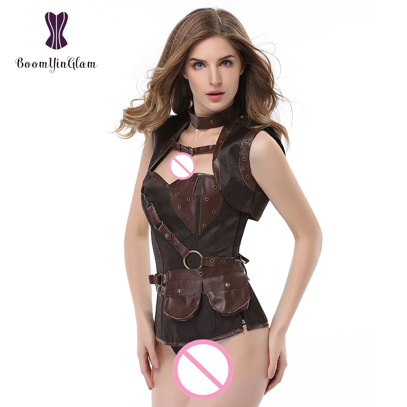 926 Fantasy leather pocket decorated Gothic costume body shaper clothing cowgirls style steampunk corset with jacket