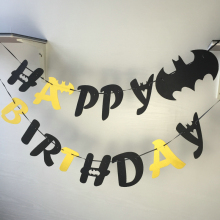 Freeshipping Batman Felt Happy Birthday letter Flag Party Decoration Banner Bunting for Children kids supply fabric