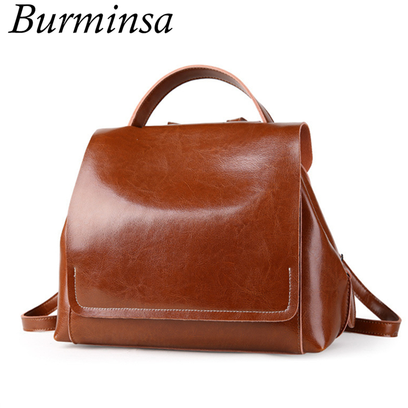 Burminsa Brand Korean Style Small Women Genuine Leather Backpack Female Travel Bags Pack Causal Ladies Daypack For Teenage Girls cartoon melanie martinez crybaby backpack for teenage girls school bags backpack women casual daypack ladies travel bags