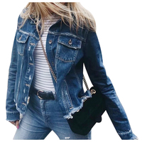 Rips Detail Boyfriend Denim Jacket Autumn Womens Jackets and Coats Pink Lapel Single Breasted Casual Fall Jacket