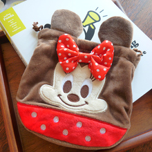 Cartoon Minnie Mickey Plush Coin Purse Drawstring Bags Children Wallet Power Bank Storage Bag Cute Key For Girls Gift