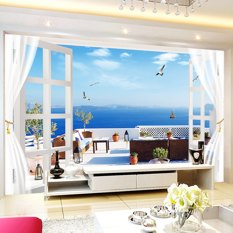 JiaSheMeiJu Custom 3D Papel De Pared Home Decor Balcony Window Blue Sky White Cloud Ocean Nature Landscape 3D Photo Wall Papers