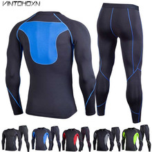 2 Piece Men Quick Dry Compression Long Johns Fitness Winter Gymming Male Spring Sporting Runs Workout