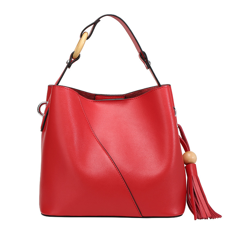 Aosbos Women Genuine Leather Bucket Bag Fashion Casual Solid Tassel Real Leather Shoulder Bags Europe and America 2019 HandbagAosbos Women Genuine Leather Bucket Bag Fashion Casual Solid Tassel Real Leather Shoulder Bags Europe and America 2019 Handbag