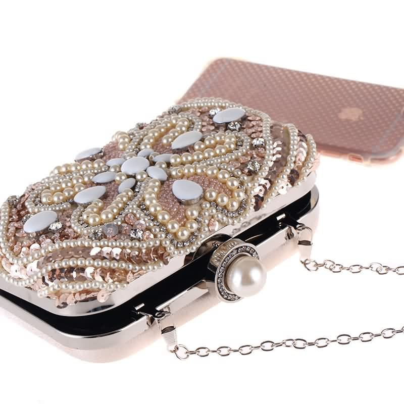 Luxy Moon Evening Bags Sequins Pearl Diamond Beaded Women s Purse Wedding  Wallet Tote Clutch Shoulder Bags with Two Chain ZD685-in Top-Handle Bags  from ... cbd53d0ebd09
