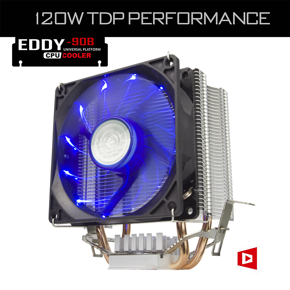 ALSEYE 2 Heatpipes Radiator 90mm CPU Cooler Fan TDP 120W Aluminum Heatsink LED Fan for i3