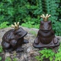 Set of 2 Charming Crowned Frog Prince Cast Iron Figural Sculpture Statue Vintage Ornament Home Garden Accent Cottage House Decor