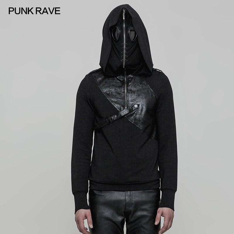 Мужские толстовки в стиле Панк Rave, куртки и пальто, Модный пуловер в стиле панк, Черная мужская повседневная куртка с капюшоном в стиле хип хоп, уличная одежда
