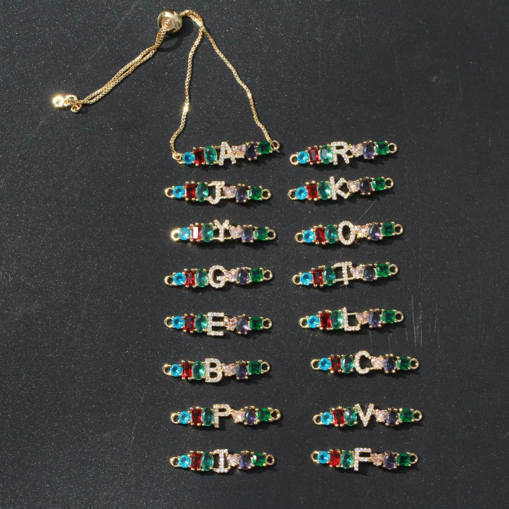 Top SaleNew Design 1Pcs Gold Chain Bracelet Rainbow CZ Cubic Zirconia Initial A to Z Letter Mix Color Fashion Curved Bar Bracelet