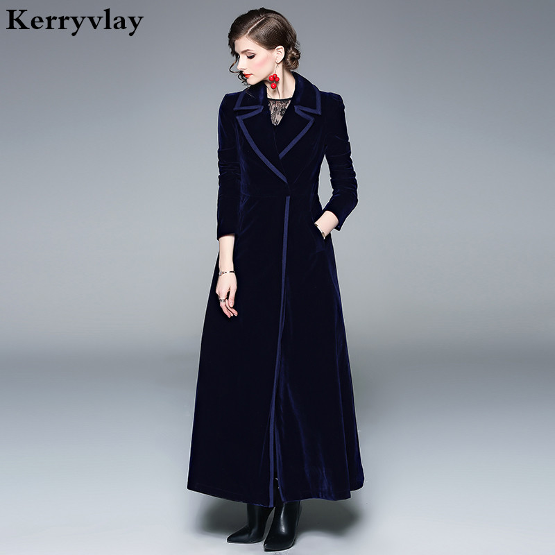 Spring Velvet Blue Long Swing Women Coat Abrigos Mujer Invierno 2019 Red Ladies Coats Casaco Feminino