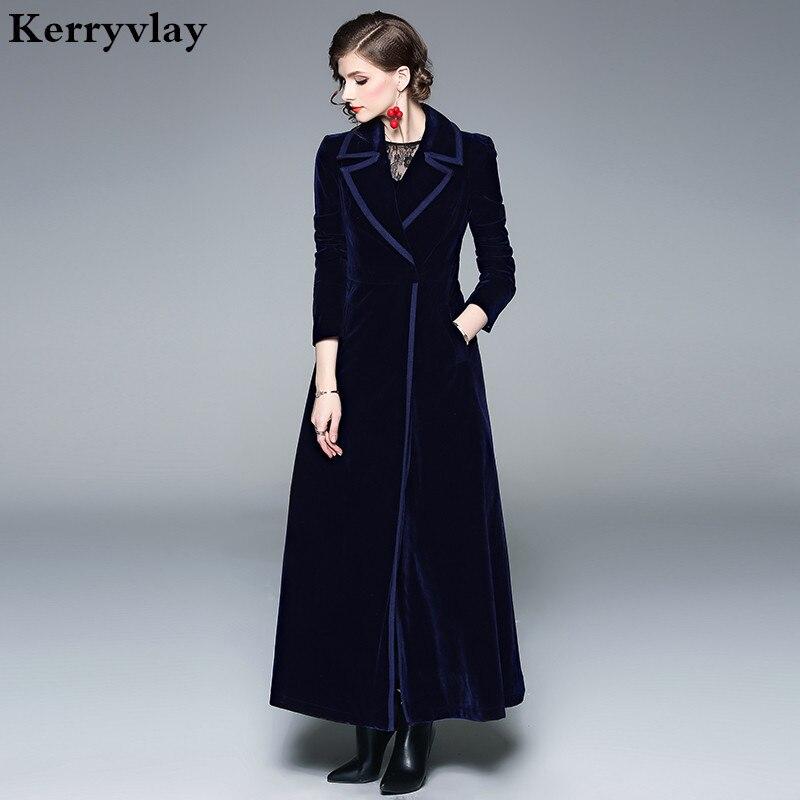 Primavera de Veludo Revestimento para Mulheres Casacas para Mujer Azul Swing Longo Abrigos Mujer Invierno 2020 Red Ladies Coats Cabolsa Feminino K9002