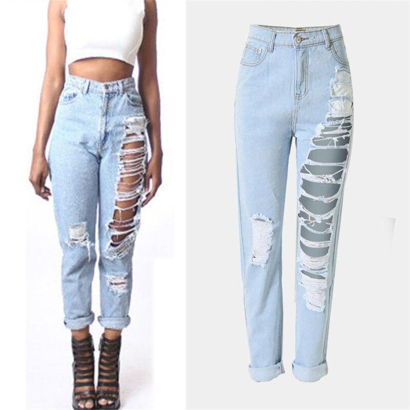 Hot Sale Women s clothing brand Holes Jeans Ladies Casual Pants Slim Fit Denim Jeans High