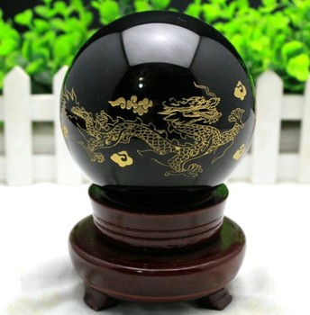 Natural quartz crystal obsidian carving dragon. Phoenix wind water bulb reiki healing natural stone home decoration accessories