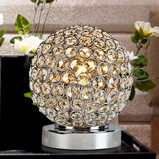 Modern Crystal Bedroom Bedsides Table Lamps Luxury Crystal insert Steel Ball Study Room New fashion Desk Lighting Fixtures small size modern bedroom bedsides crystal table lights chrome base square crystal tiny size study room desk lighting fixtures