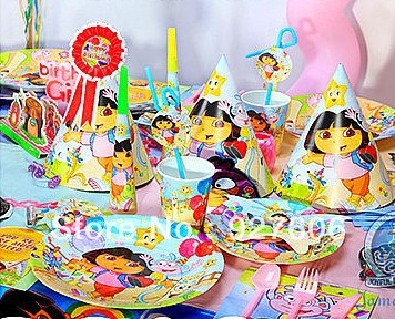 DORA birthday party supplies set flag table cloth blowout horn