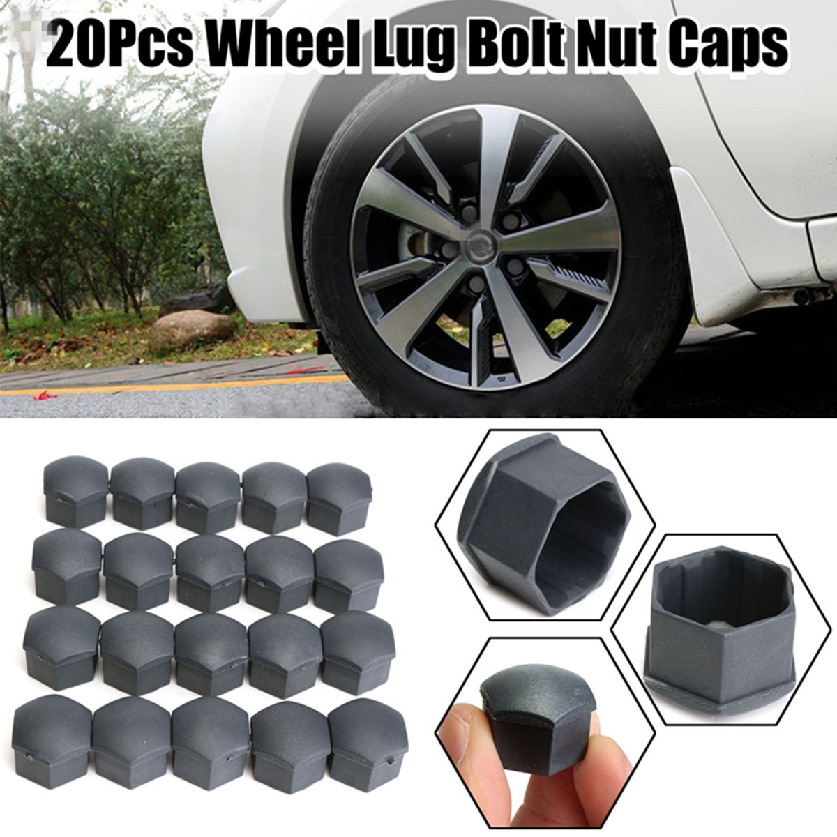 20 Car Bolts Alloy Wheel Nuts Covers 19mm Chrome For  VW Passat B7
