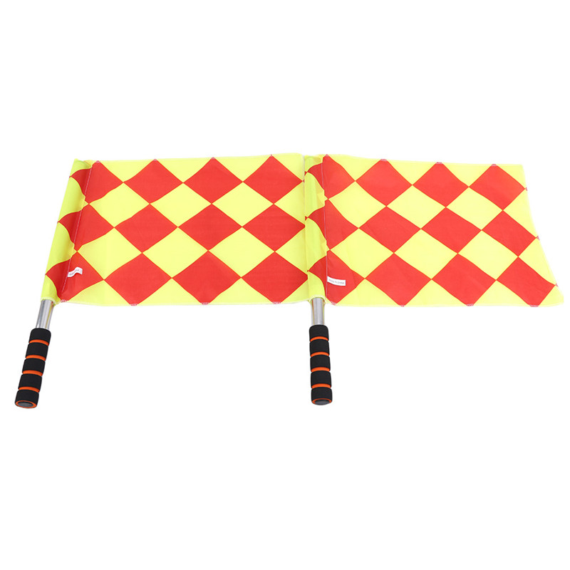 Multi-function Sports Yellow Small Square Football Flags Issuing Referee Signal Flag Offside Indicating Hand Flags