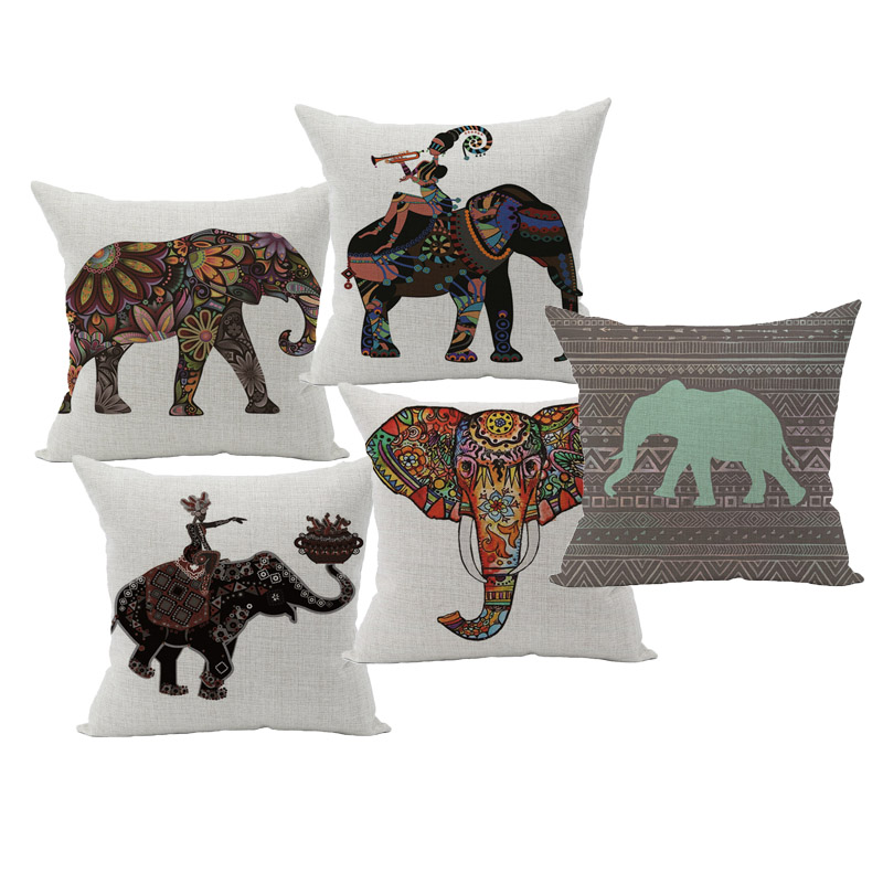 Cute Colorful India Elephant Pillowcase Pillow Cover Cotton Linen Chair Seat And Waist Square 45x45cm Cushion Home Living