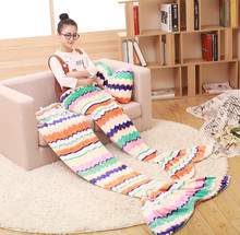 2016 new items coral fleece cotton striped mermaid blanket for babies and Adult 180*85cm