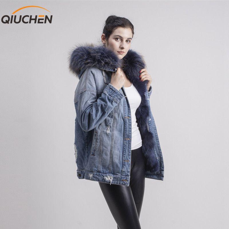 QIUCHEN PJ1816 réel fourrure de renard doublé trois couleurs denim veste jeans manteau avec réel raton laveur col de fourrure pour l'hiver de fourrure parka