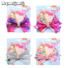 ncmama 1pc/card 5 Jelly Bows Summer Hair Clips for Girls Shiny Rhinestones PVC Bow Hairgrips Party Kids Accessories