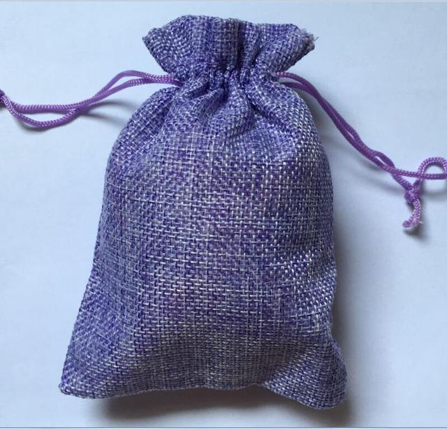 Popular 7x9cm Light Purple Jute Bag 50pcs/Lot Small Fabric Gift Bags  AT07