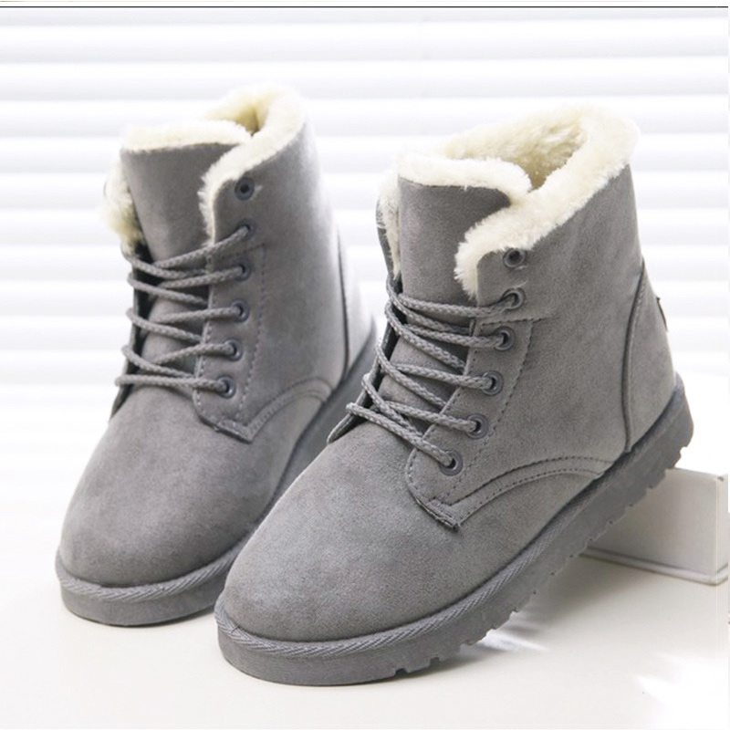 Women Boots Snow Warm Winter Boots Botas Mujer Fur Ankle Boots Ladies Lace Up Winter Shoes Black Beige 2016 rhinestone sheepskin women snow boots with fur flat platform ankle winter boots ladies australia boots bottine femme botas