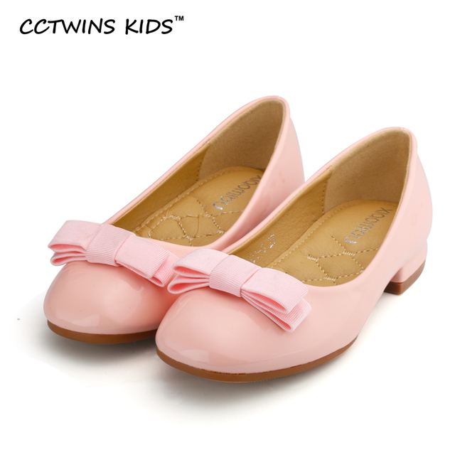 CCTWINS KIDS spring autumn fashion heeled princess shoe for children baby girl pu leather slipper  toddler fashion bow ballet