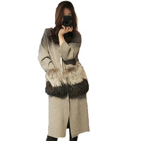 Hot Sales 2016 Autumn New Arrival Natural Fur Pockets Sweater Women Long Sleeve Trench Knitwear Cardigans
