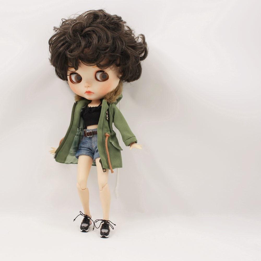 Neo Blythe Doll Denim Shorts Black Lace Bra With Green Army Jacket 1
