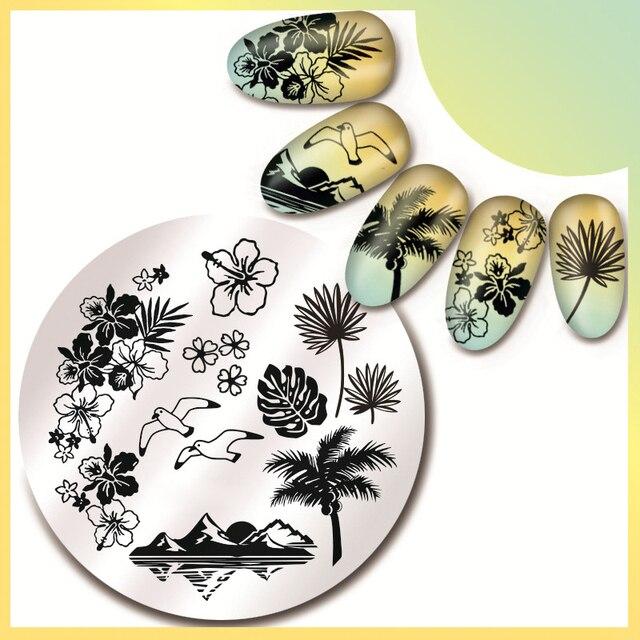 1 Stück Runde 5,5 cm Nail art Stempel Vorlage Hawaii Meer Mew Design ...