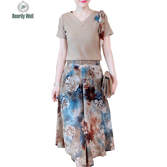 46e20e85ba3c4 New 2017 Women Summer Party Casual Korean 2 Two Piece Set Floral Print Loose  Chiffon Dress And T-Shirt Top Suit Clothing