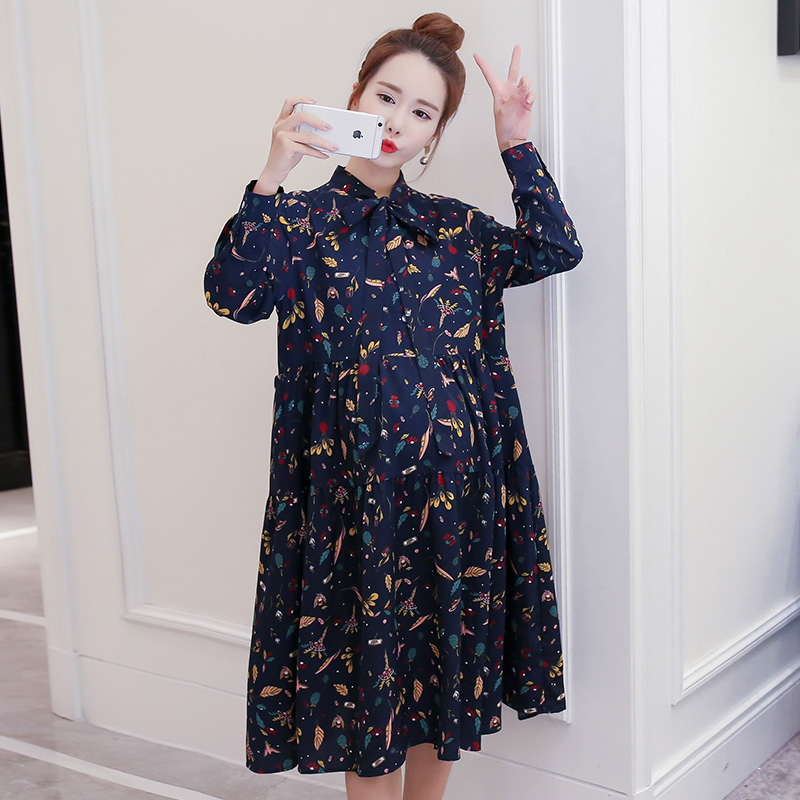 Make spot fall pregnant women chiffon printing maternity clothes loose big yards of pregnant women pregnant women dress skirt