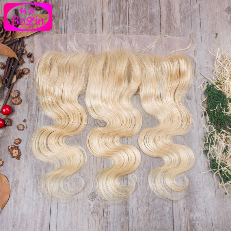 #613 Lace Frontal Closure with Baby Hair 8A Grade Blonde Malaysian Remy Hair Body Wave Ear to Ear Lace Frontals