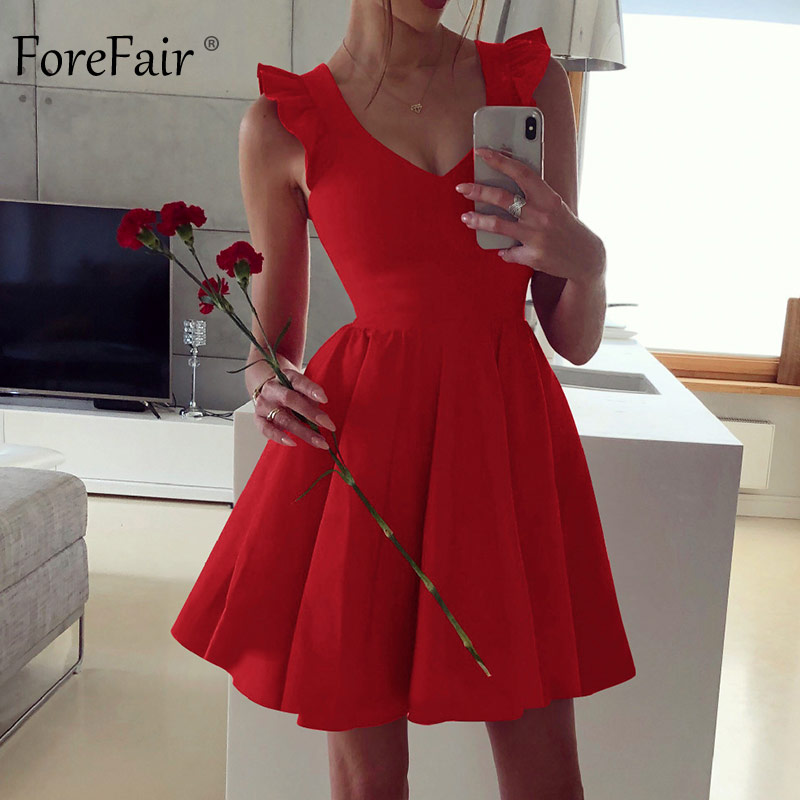 Forefair A Line Sexy Dress Summer Red Black Green Elegant Pleated V Neck Short Sleeve Ruffle Night Club Mini Party Dress Women