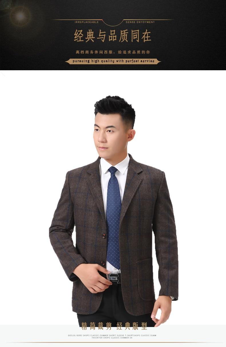 WAEOLSA Man Wool Blazer Plaid Jacket Suit Men Woollen Blends Garment Male Smart Casual Balzers Black Gray Jacket Suit Man (2)