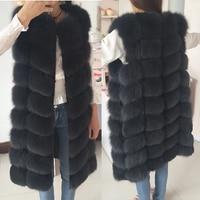Natural Fox Fur Coat 100% Real Fox Fur Vest Jacket 2018 Women's pretty Warm Coat. Natural Real Fur Coat Jacket Real Fur Coats