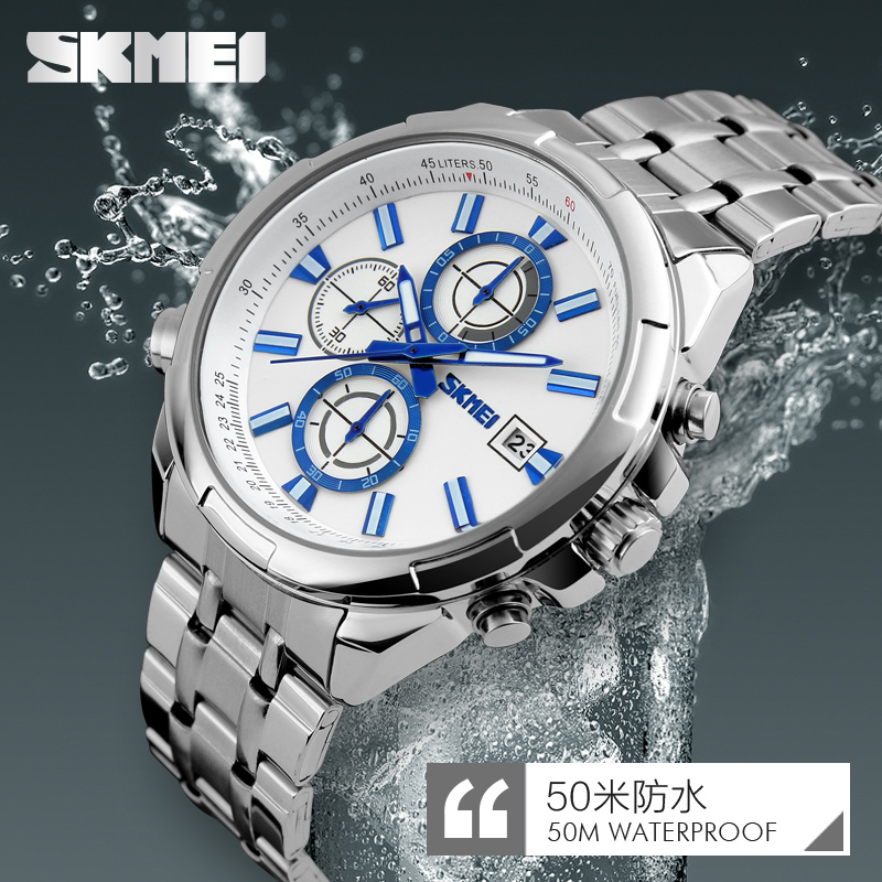 Skmei 9107 Fashion Men Quartz Watch Water Resistant Sport Style Stainless Steel Strap Wristwatches