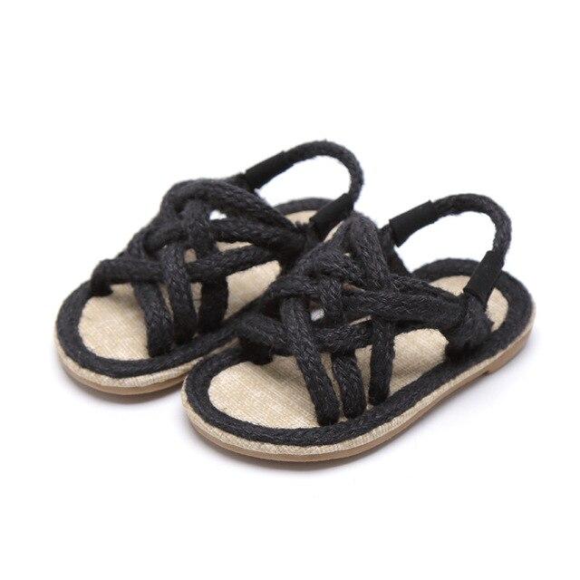 Filles sandales enfants Gladiador Jute Sandalia 2019 été confortable sandales plate-forme plat enfants mode sandales de plage décontractées 5
