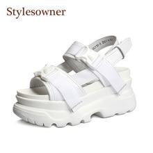 цены Stylesowner Flat Platform Sandal Shoes Muffin Heel Buckle Strap Leisure Roman Shoe Designer Chic All Match Lady Summer Shoe