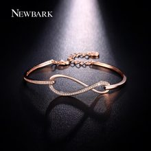 NEWBARK Micro CZ Diamond Paved Figure 8 Infinity Bracelet Rose Gold And White Gold Plated Lobster Clasp Eternity Jewelry