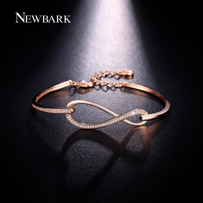 NEWBARK Micro CZ Paved Figure 8 Infinity Bracelet Rose Gold Color And Silver Color Lobster Clasp Eternity Jewelry