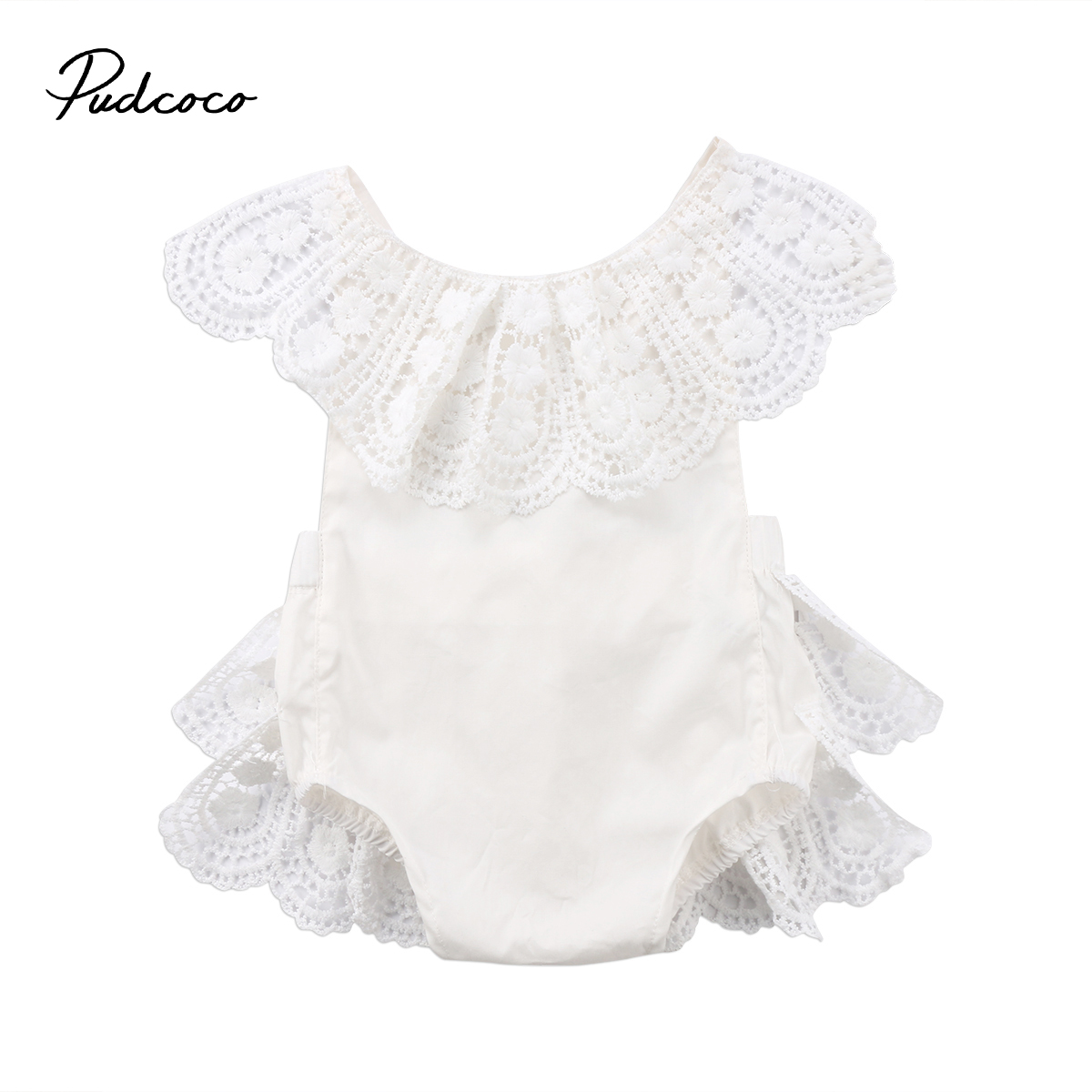 Pudcoco Newborn Baby Girls Lace Ruffle Romper Cotton White Backless Jumpsuit Outfits Sunsuit Summer Toddler Girls Clothing pudcoco newborn baby girl clothes 2017 summer sleeveless floral romper backless jumpsuit sunsuit children clothes