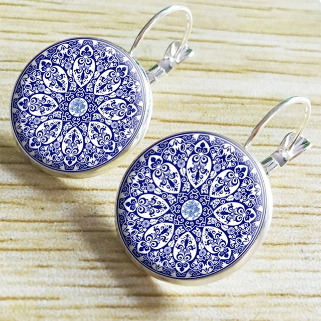 Glass Earrings with Image of Mandala