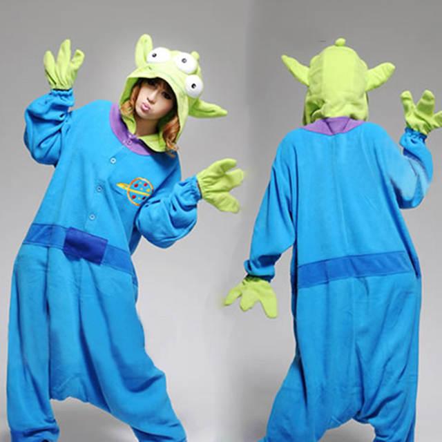 New Party Halloween Toy Story Aliens Alien Cosplay Costume Men Women Adult  Onesies Pajamas Polar fleece 728a597ec8