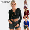 New Sexy Lace Up Crop Top Deep Vneck Knitted T Shirt Women 2017 Long Sleeve Women's T-shirts Ribbed Short Tee Shirt Femme C40