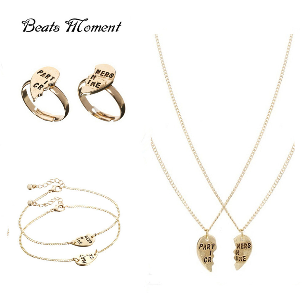 ee3484e3e94e0 US $0.99 |partners in crime best friend Gold Filled Jewelry Sets B&M  Necklace bracelet rings For friends Wholesale gold jewelry sets-in Jewelry  Sets ...